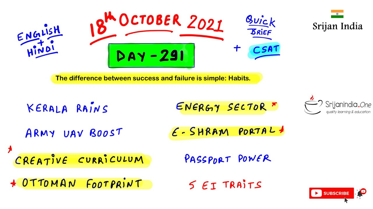 18th October 2021   Daily Brief   Srijan India One