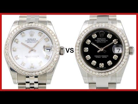 ▶ Ladies Rolex Datejust 31, Diamond Bezel & Dial: black Oyster vs. white Jubilee COMPARISON - 178240