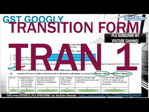 DEMO How to fill GST TRAN - 1, Form for carry forward of Inputs (existing law) to GST, in HINDI*