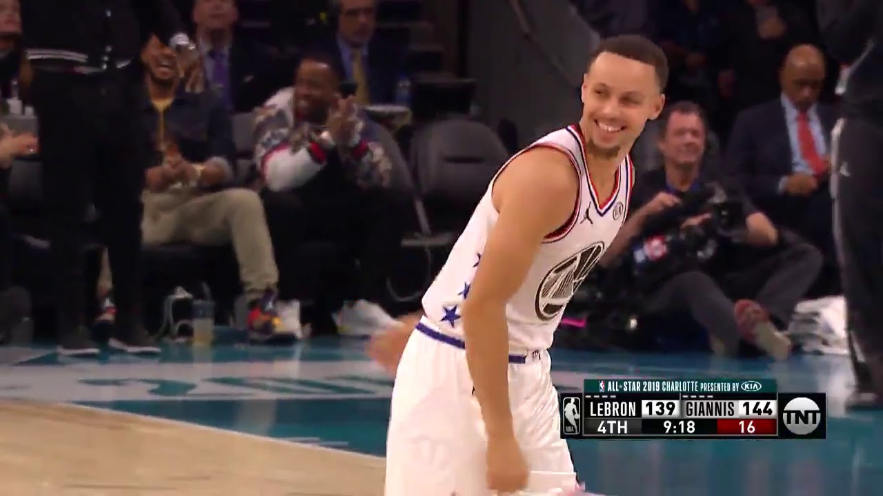 ef526bdead2 Stephen Curry 4 points play on Klay Thompson in All Star Game 2019 ...
