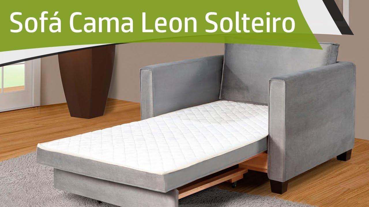 Sof cama de solteiro leon c percintas el sticas e espuma for Sofa cama de espuma