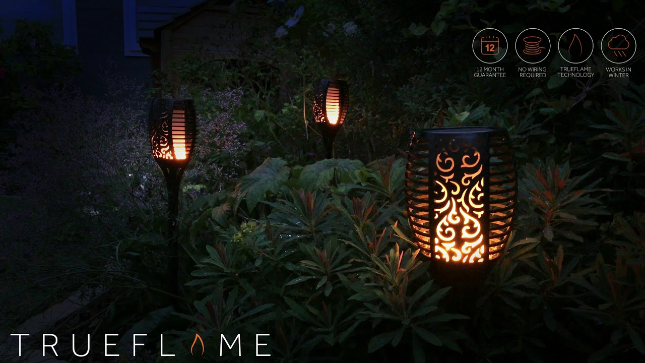 Trueflame Usb Solar Torch Light With Flickering Flame