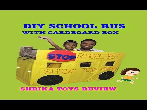 DIY KIDS School Bus out of CARDBOARD BOX- How to Make My School Bus