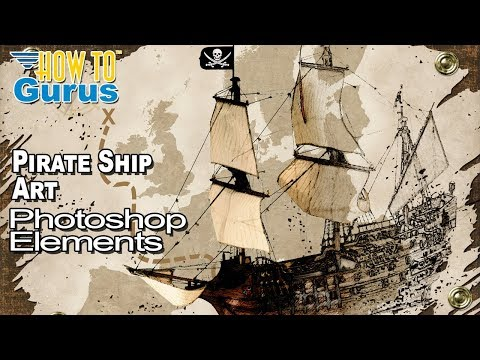 How to Make an Adobe Photoshop Elements Art Drawing Pirate Ship Treasure Map Design thumbnail