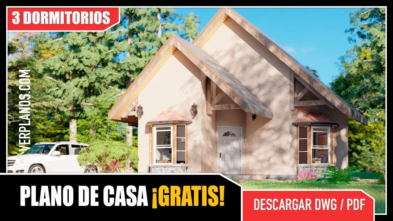 ✅ Hermoso Plano de Casa con 3 Dormitorios (DWG / PDF)