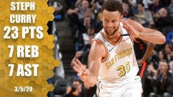 Steph Curry returns with 23 points, 7 rebounds and 7 assists   2019-20 NBA Highlights