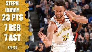 Steph Curry returns with 23 points, 7 rebounds and 7 assists | 2019-20 NBA Highlights