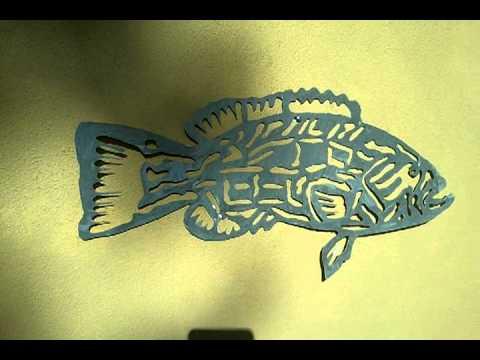metal fish art black grouper tribal gamefish