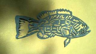 Video Metal fish art.   Black grouper tribal gamefish $59.00 download MP3, 3GP, MP4, WEBM, AVI, FLV Juni 2018