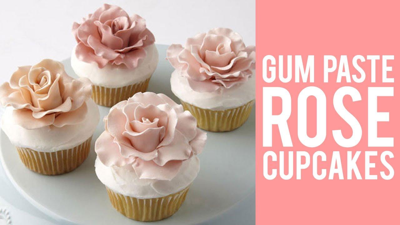 Gum Paste Rose Cupcakes Youtube