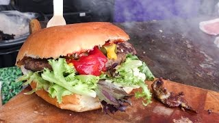 Gourmet Burger of English Beef and Bacon Tasted in SouthBank Centre, London. Street Food