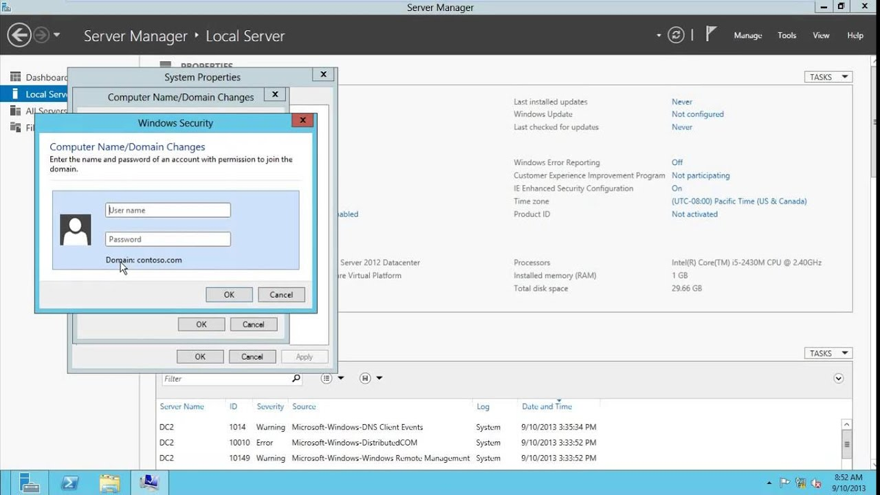 How to Join Server or Client to the Domain Controller - Server 2012