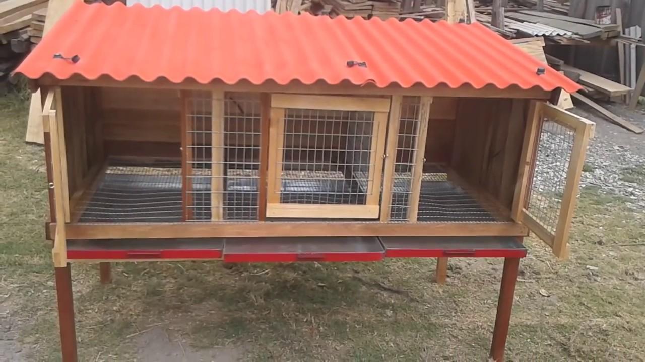 Jaula de 3 servicios para conejo cuy con bandeja youtube for Como hacer un criadero de carpas