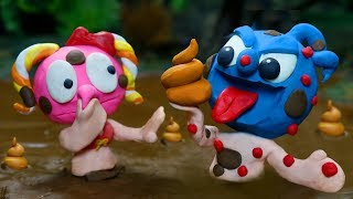 Tiny Takes A Stinky Mud Bath - Funny Moment Stop Motion Animation Cartoons