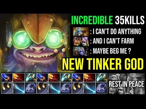 NEW Tinker God!!! Most Aggressive And Amazing Plays 35Kills Crazy Rage Fast Hands - DotA 2