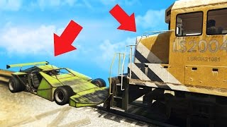 EXPERIMENT CAN A RAMP CAR STOP THE TRAIN IN GTA 5?! (GTA 5 Online Multiplayer)