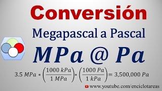 Convertir de megapascal a pascal (MPa a Pa)