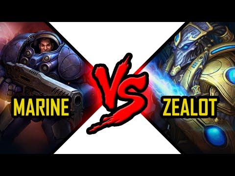 Marine vs Zealot Starcraft 2 unit Battle Terran vs Protoss kombat