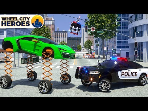 Police Car Sergeant Lucas cathing Car with Spring Wheels | Wheel City Heroes (WCH) | New 3D Cartoon