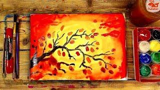 Как нарисовать ОСЕНЬ ветку / Урок рисования красками ГУАШЬ