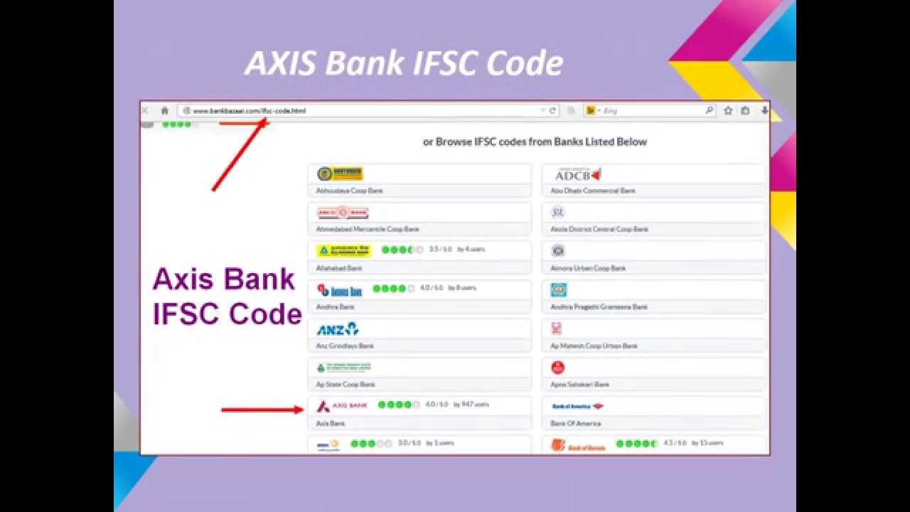 how to check ifsc code for axis bank