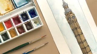 Watercolour In Process #11 - Architectural Speed Ink And Wash Drawing Of Big Ben