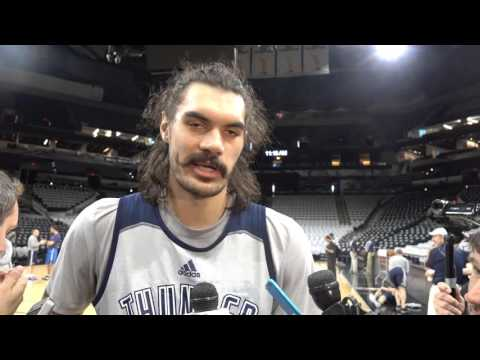 Steven Adams at shootaround