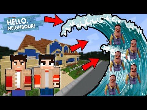 AHOJ SOUSEDE SVĚT VS SOUSEDOVO OBROVSKÉ TSUNAMI !!! - Minecraft Challenge w/ Vendali