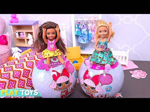 Barbie Doll Chelsea Play with LOL Surprise Toys! 🎀