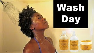 Wash day using Shea Moisture Raw Shea Butter line (demo/review)