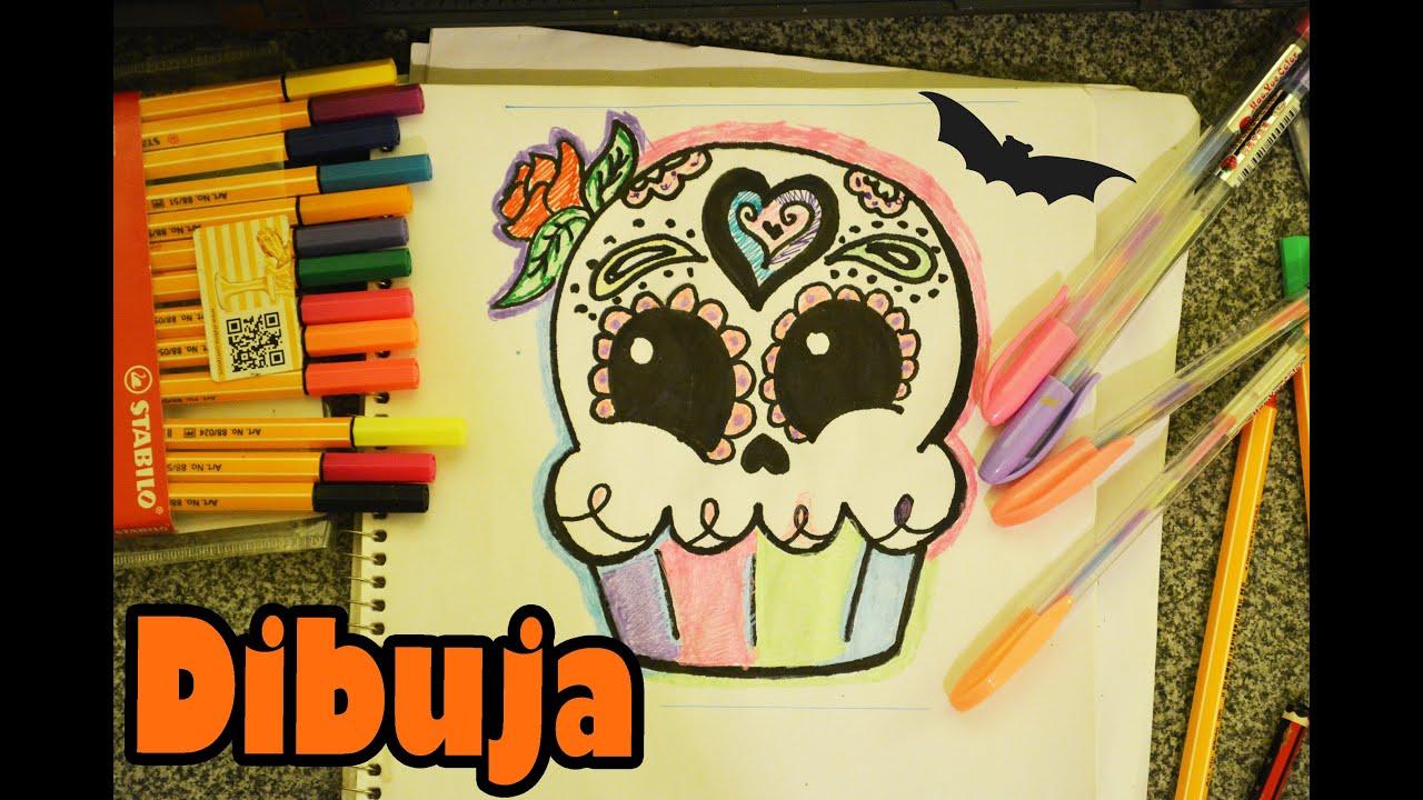 Calaverita cupcake aprende a dibujar kawaii dia de muertos - Dibujos de halloween ...