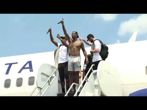 The Cavaliers return home to Cleveland with the NBA title trophy