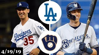 Los Angeles Dodgers vs Milwaukee Brewers Highlights   April 19, 2019