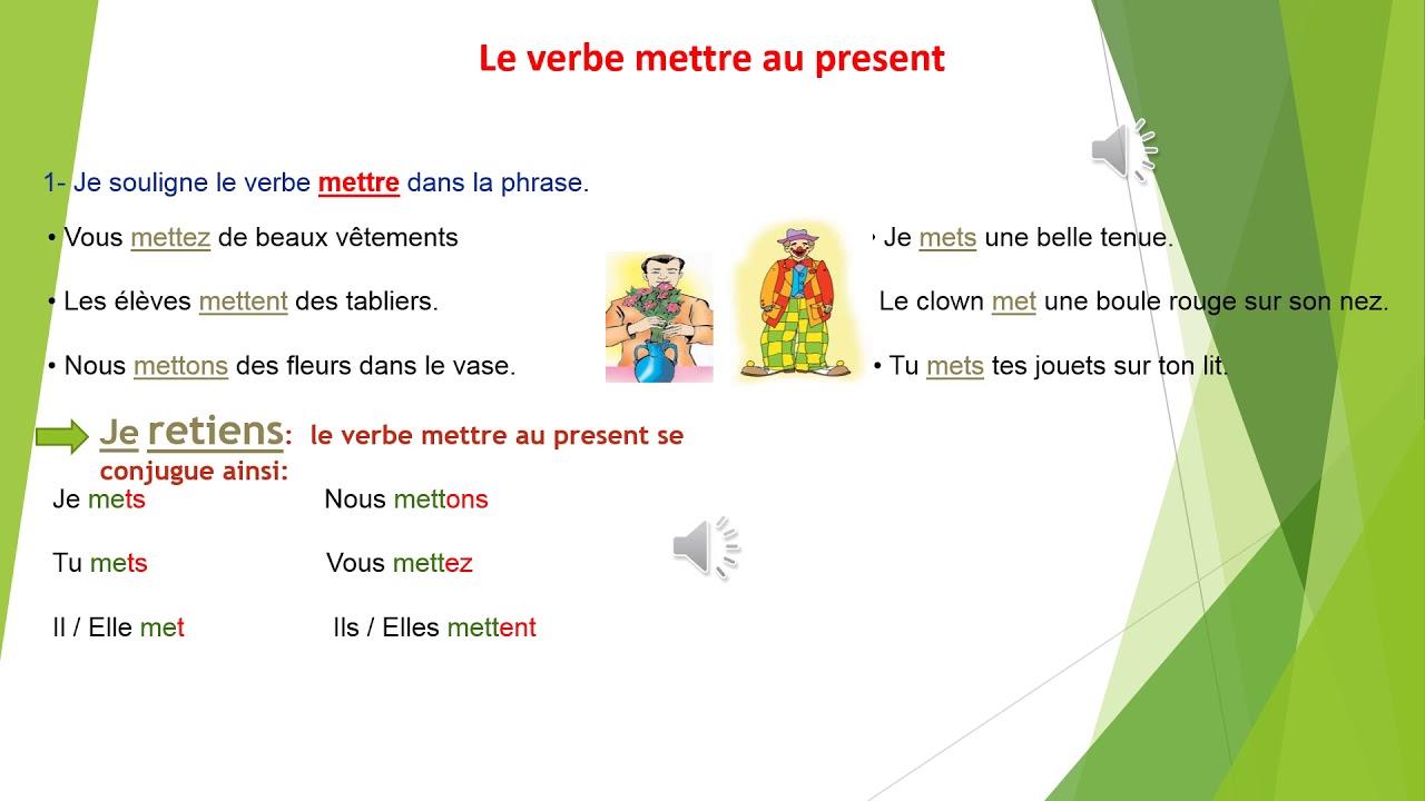 Conjugaison Verbe Mettre Video Youtube
