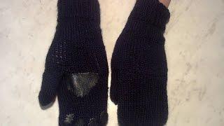 Как связать варежки спицами. How to link mittens needles.