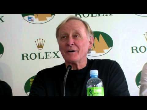 Supermaxi COMANCHE owner Jim Clark talks before the 2014 Rolex Sydney Hobart Race