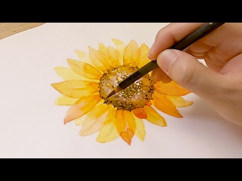 How to Paint a Sunflower / Yellow Watercolor Painting