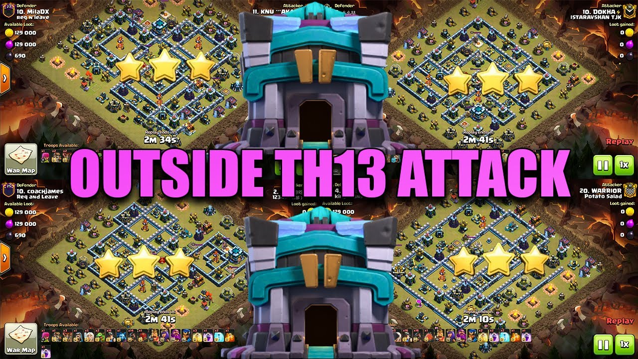 How To 3 Star Outside Th13 Bases | Easy Way TH13 Corner Base Attack | Clash of Clans