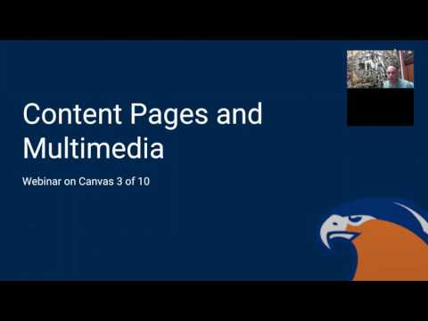 Webinar on Canvas - Content Pages and Multimedia
