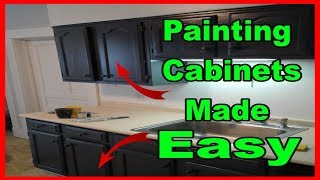 Painting kitchen cabinets for beginners- Brush and Roll