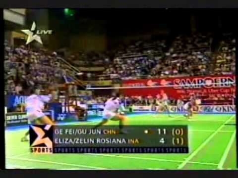 "Uber Cup Final in Hongkong: ""Eliza/Zelin Resiana VS Ge Fei/Gu Jun"" - Set 1, 2, 3 @ Star Sports 1996"