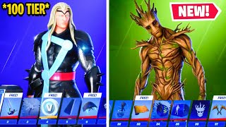 SHOWCASING *NEW* FORTNITE CHAPTER 2 SEASON 4 BATTLE PASS *TIER 100*! (Every New Skin, Emote, Glider)
