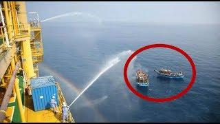 越南船闯中国海域找茬 我海警船警告却遭无视 直接掏出高压水枪