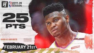 Zion Williamson 25 Pts Full Highlights   Pelicans vs Blazers   February 21, 2020