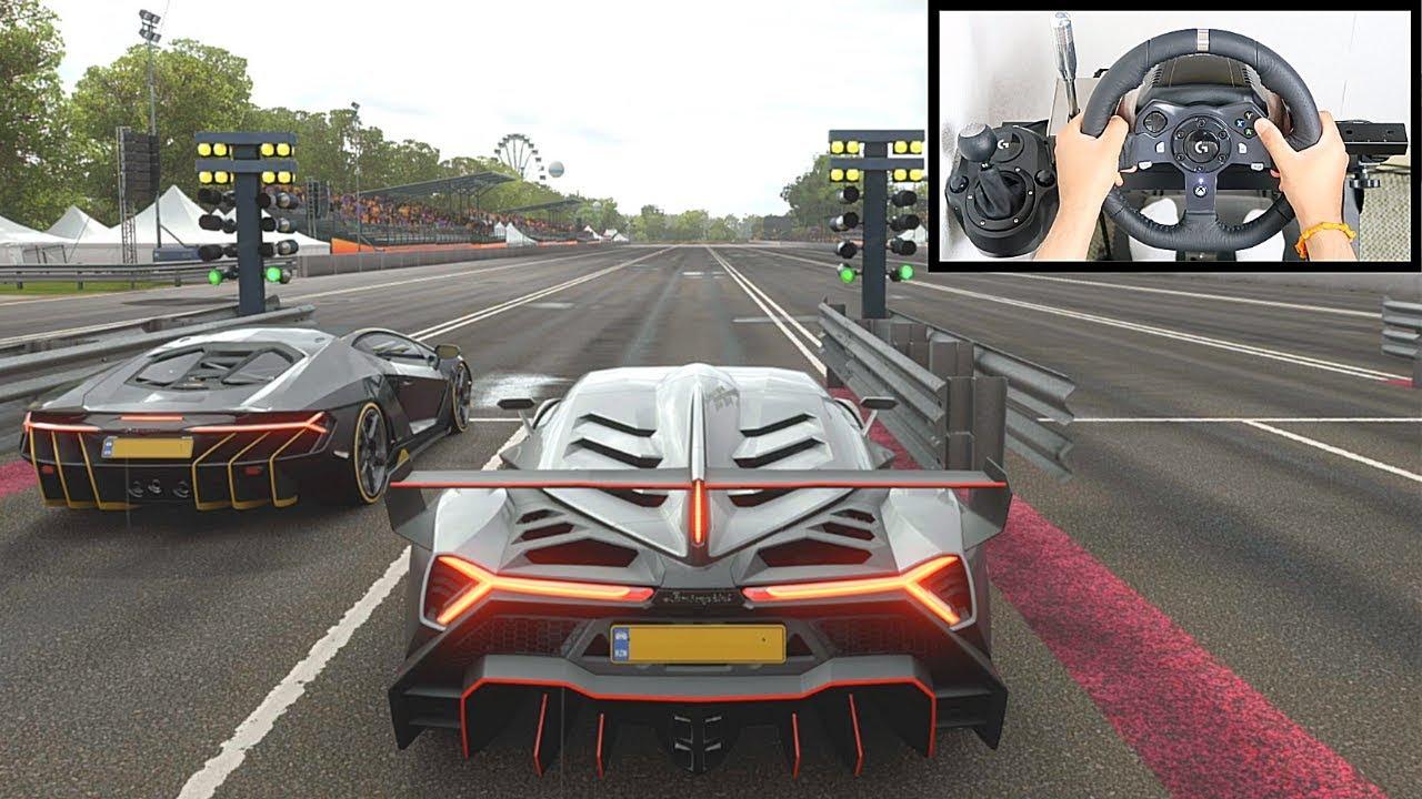 Forza Horizon 4 DRAG RACE: Lamborghini Veneno vs Centenario (Logitech G920 Steering Wheel) Gameplay thumbnail