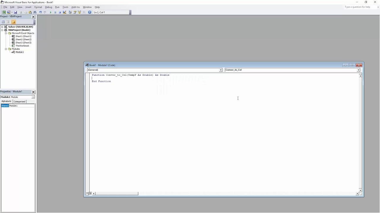 Visual Basic Excel Simple function convert temperature