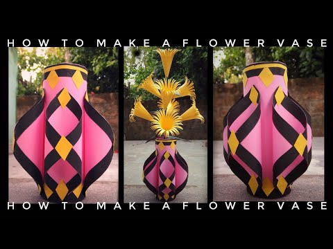 How to make a flower vase at home //Dye paper craft //Home decoration ideas