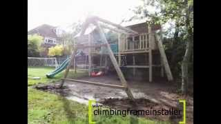Play Crazy Double Tower Wooden Climbing Frame With Swing Beam, Climbing Frame Installer
