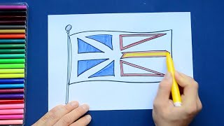 How to draw and color the Flag of Newfoundland and Labrador, Canada