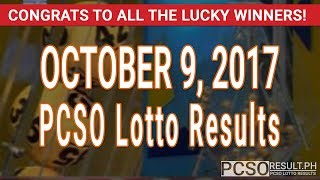 PCSO Lotto Results Today October 9, 2017 (6/55, 6/45, 4D, Swertres & EZ2)